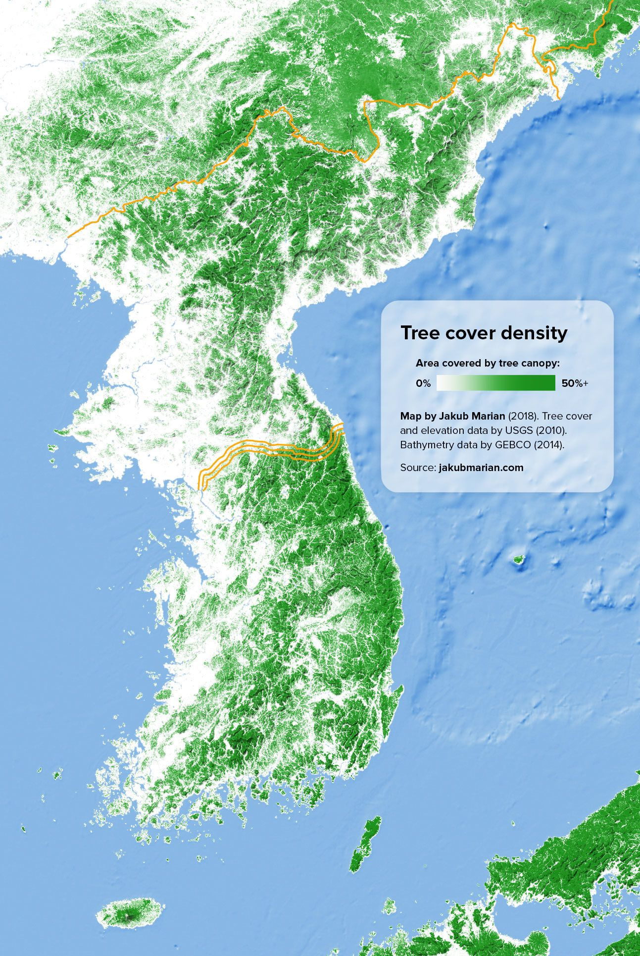 Tree Cover Density of the Korean Peninsula | Sublime Maps ...