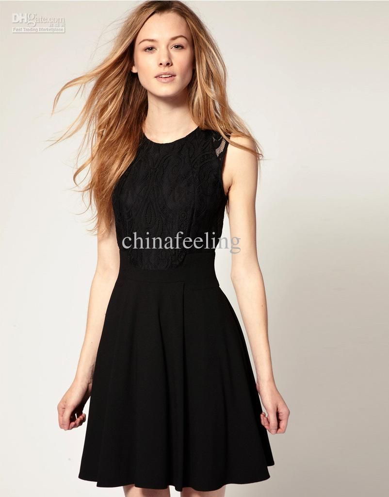 Black Lace casual dresses prom dresses summer European style ...