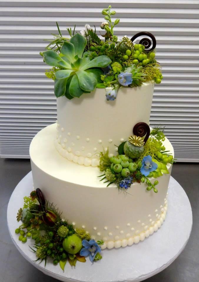 Main Succulents Wedding Cake From Papa Haydn Dessert Restaurant In Portland OR
