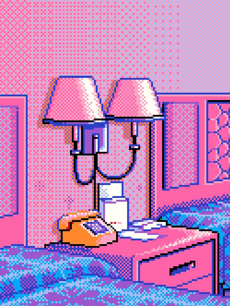 Pixel Art Hotel Nightstand Pixel Art Vaporwave Art 8