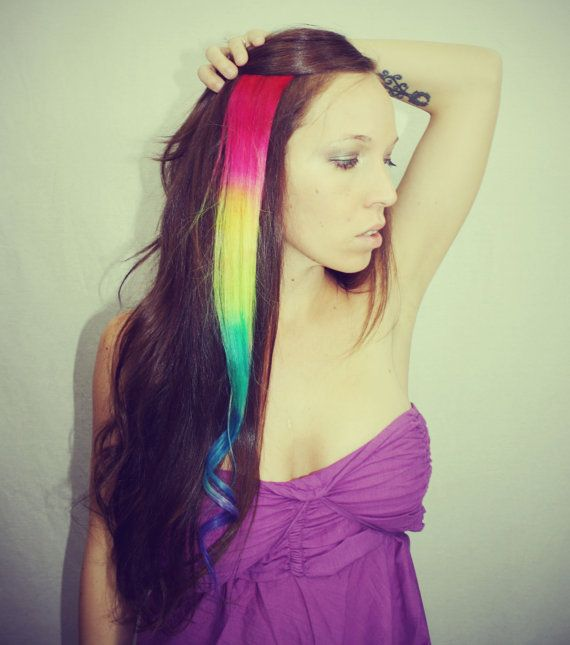 Rainbow human hair extensions colored hair extension clip hair rainbow human hair extensions colored hair extension clip hair wefts clip in hair tie dye hair extensions dip dyed hair pmusecretfo Images