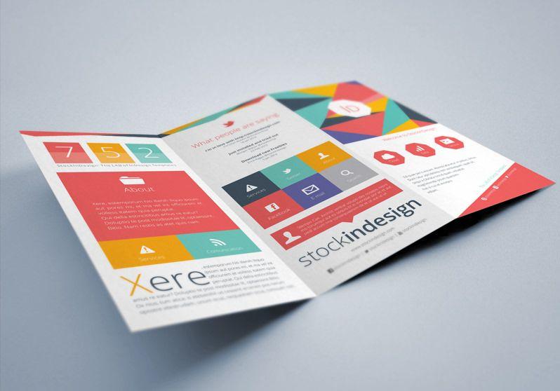 Flat Tri-fold Brochure InDesign Template | Diseño | Pinterest ...
