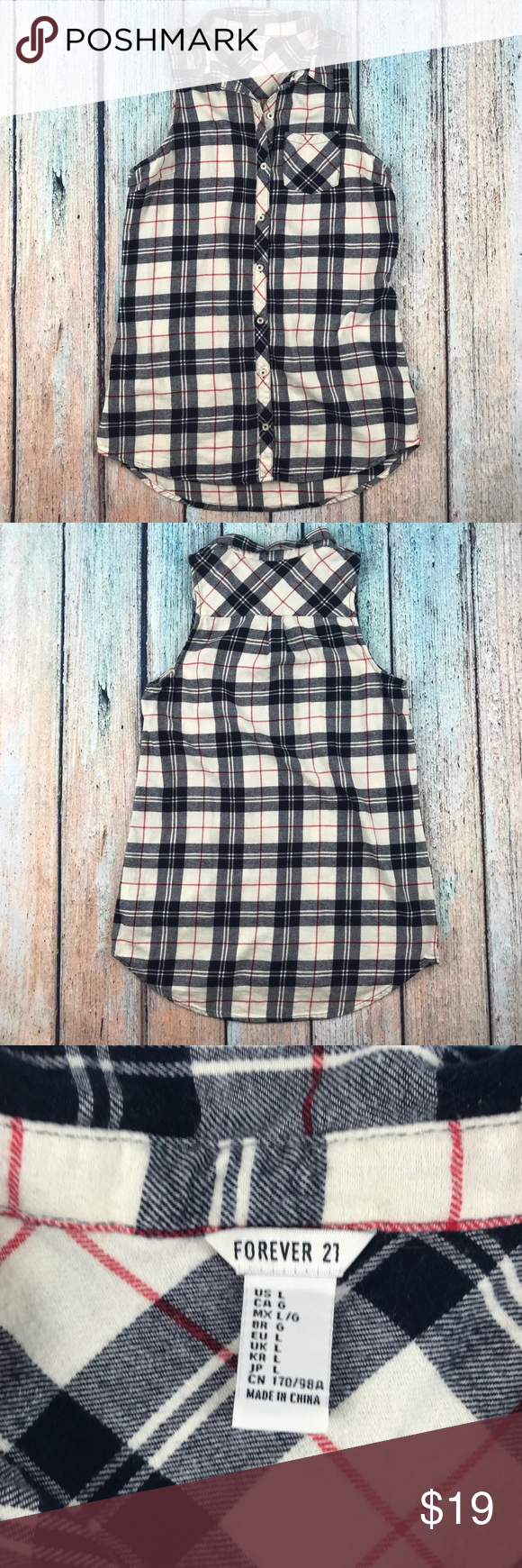 Red flannel 2018  Forever  sleeveless Flannel Button Down in   My Posh Picks