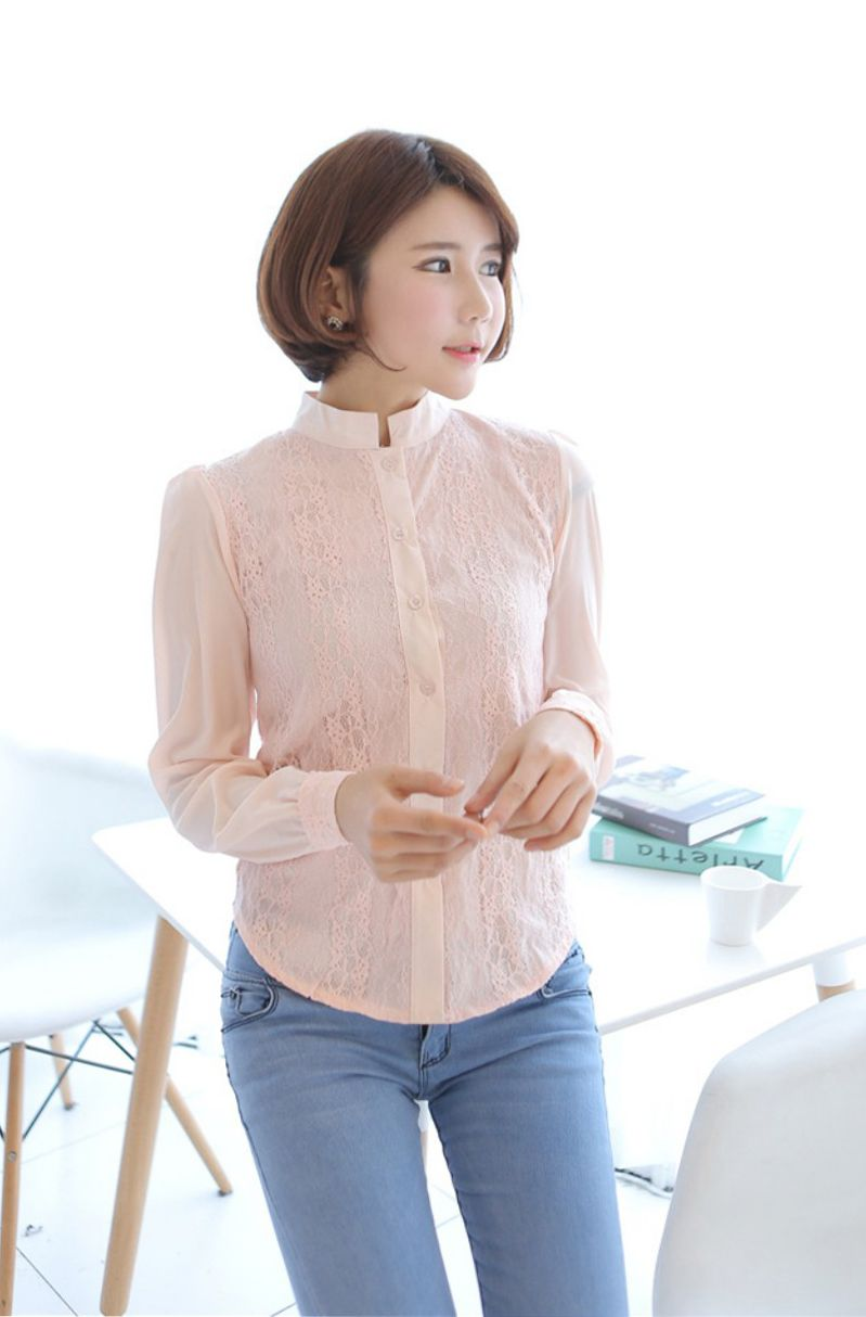 Korean Fashion Blouses Leopard Trim Blouse