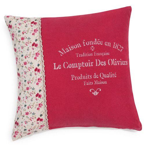 Housse de coussin Grasse comptoir en coton rose 40 x 40 cm