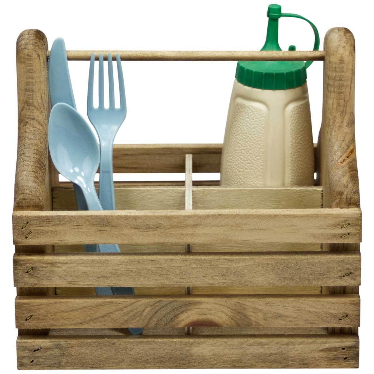 Wooden Silverware Caddy Kitchen Utensil Organization