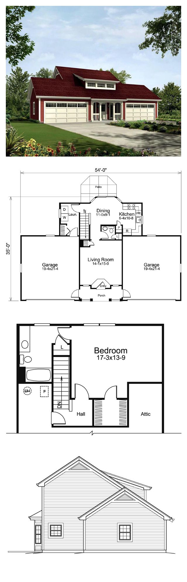 Country Style House Plan 95832 With 1 Bed 2 Bath 4 Car Garage Country Style House Plans House Plans Best House Plans