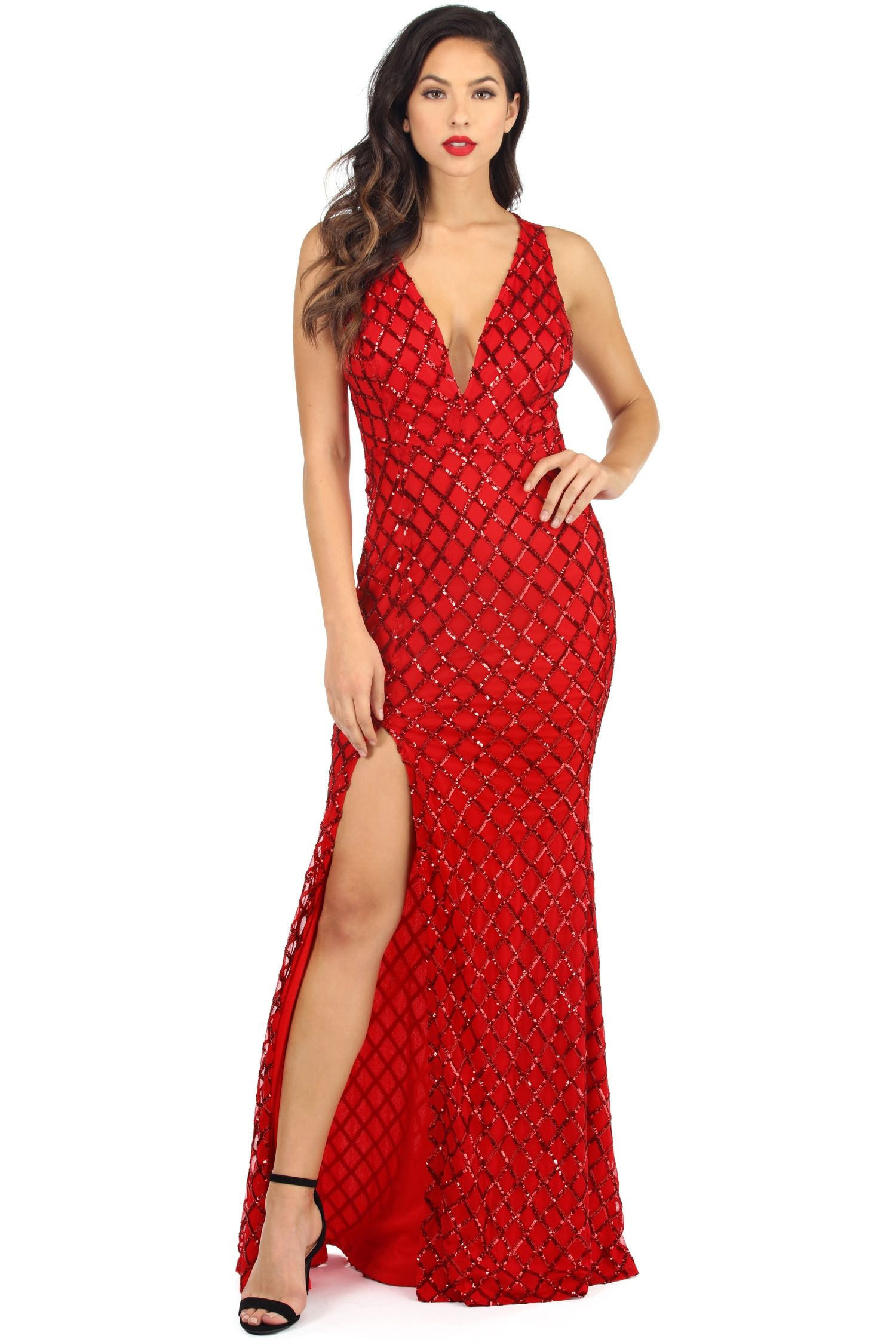 Carol Red Sequin Diamond Dress | Windsor | Pinterest | Diamond dress ...