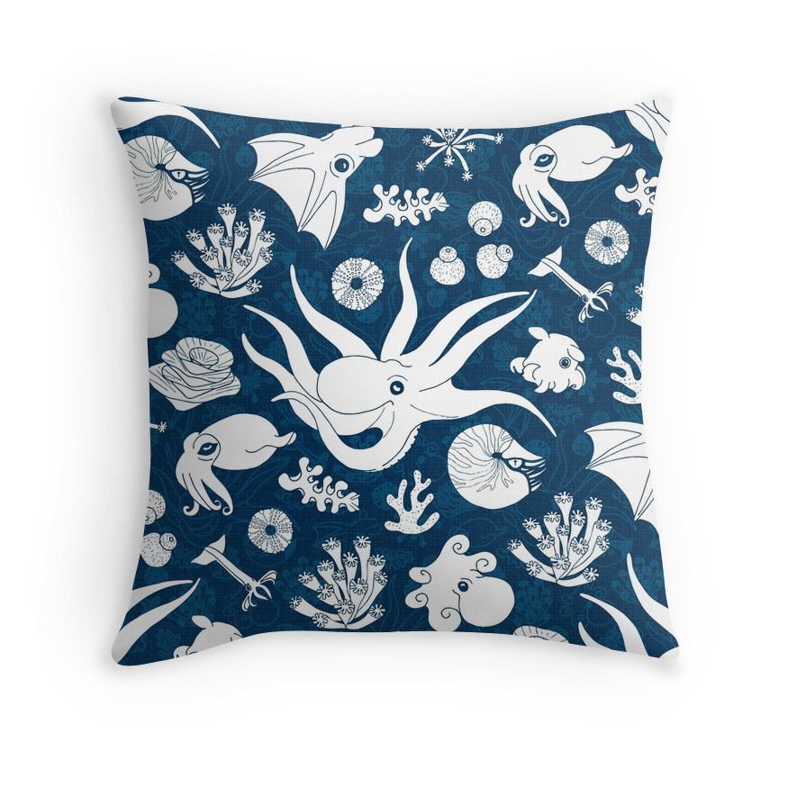 Cephalopods: Background Blue #cephalopods #octopus #tentacles #blue #sealife #underwater #pillow #cojin