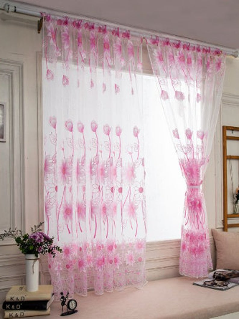 Sunflower Voile Curtain Balcony Curtains Kitchen Flower Tulle Etsy In 2020 Kitchen Curtains Voile Curtains Curtains #sunflower #curtains #for #living #room