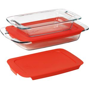 Kitchen Pyrex 4 Piece Glass Bakeware Set Glass And Red 12