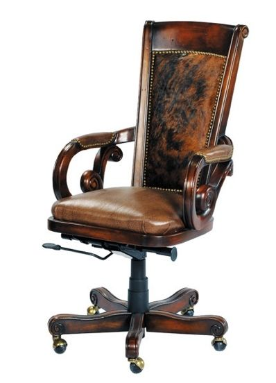 Wood Leather Cowhide Computer Office Chair Office Chair