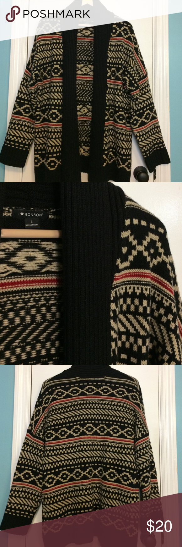 I ❤️ Ronson Aztec Cardigan Very nice, only worn a few times. Shades of black, tan and red. Has open front with shawl collar. Very soft and warm. Measures 30 inches long and 23 inches from armpit to armpit. No rips, tears or stains. 100% acrylic. I ❤️ Ronson Sweaters Cardigans