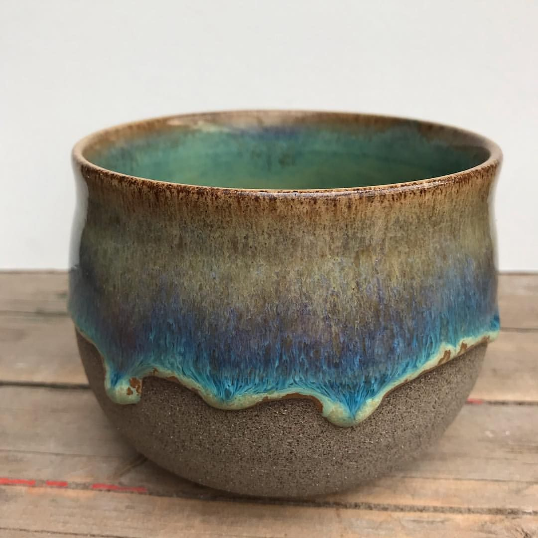"""Michelle van Andel on Instagram: """"Glazed with Amaco potter's choice oatmeal over textured turquoise. Clay body is WMS 2002 GG from Sibelco. * #pottery #potterylove…"""""""