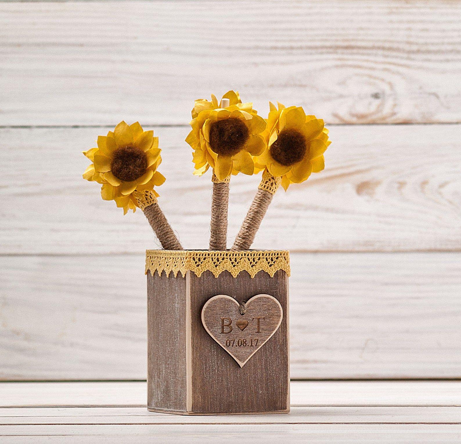 Sunflower Guest Book Wedding Pen Holder Sunflower Wedding