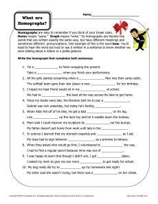 Homograph Worksheets - What are Homographs? | LD & ADHD | Homographs ...