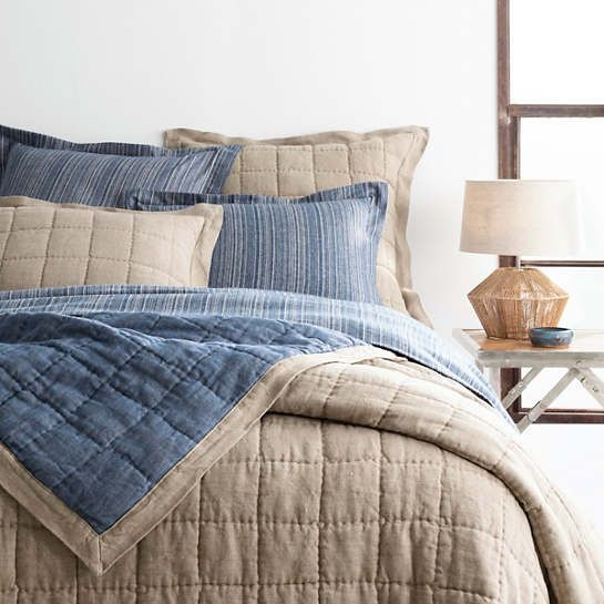 Holden Linen Natural Denim Quilt Pine Cone Hill Blue Bedding Home Black Bed Linen