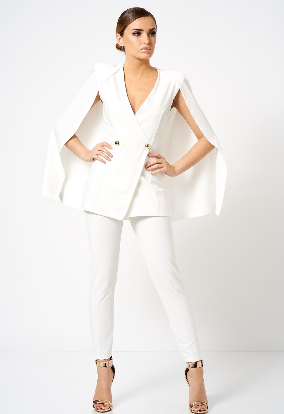 9a0ea5479 Club L London Double Breasted Cape Blazer Co-ord Jacket in White in ...
