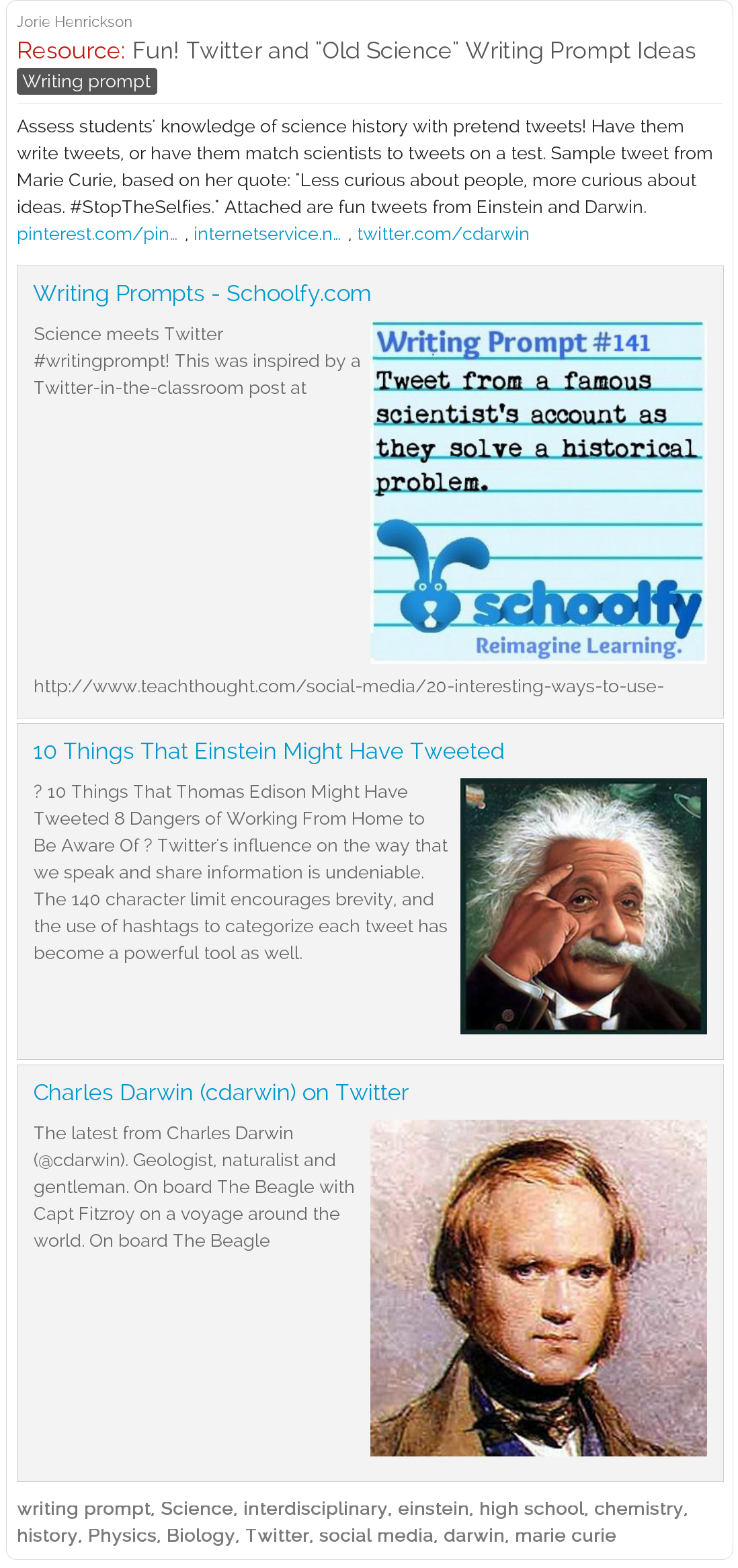Fun Twitter And Old Science Writing Prompt
