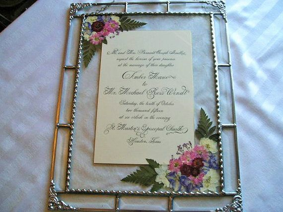Custom Wedding Keepsake Frame Framed Wedding Invitation Pressed