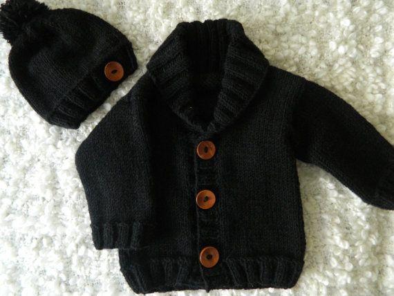 b1deff37ce42 Knit Handmade Black Baby Boy Little Man Hat And by RodiAndSuzi ...