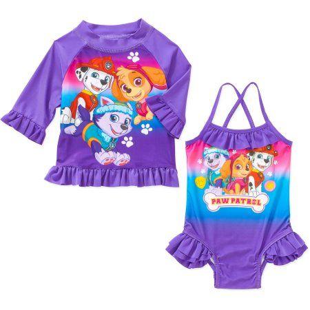 28092e7d359c0 Paw Patrol Toddler Girl Swim Set with Swim Suit and Rash Guard