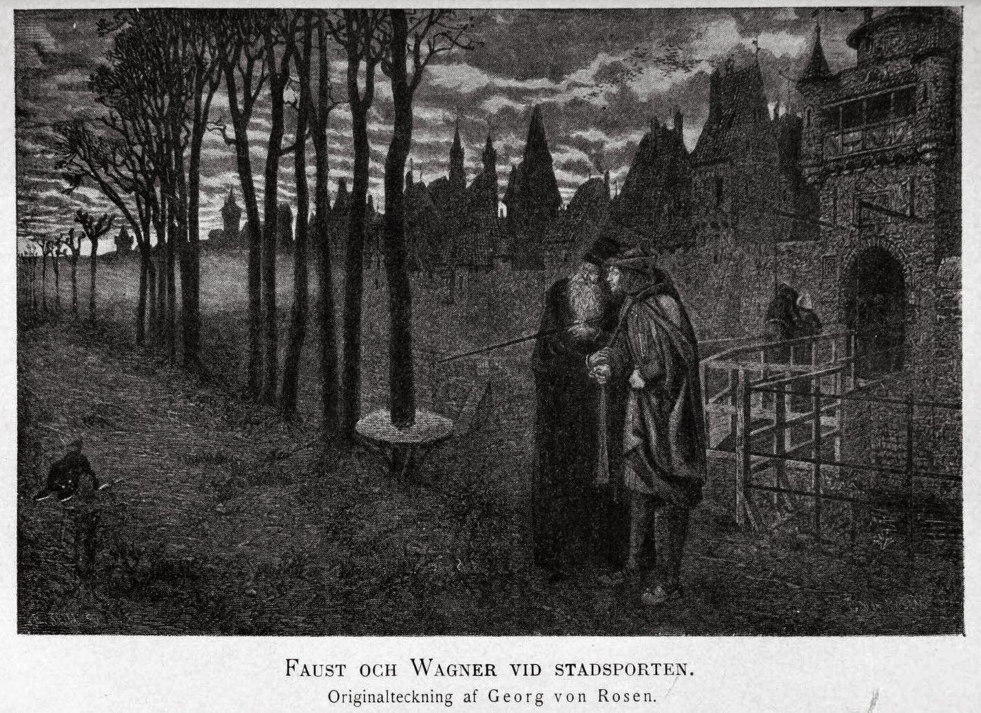 Viktor Rydberg översatte Goethes Faust i mitten av 1870-talet, något som bidrog till hans stora genombrott. (Ill. av Georg von Rosen.)