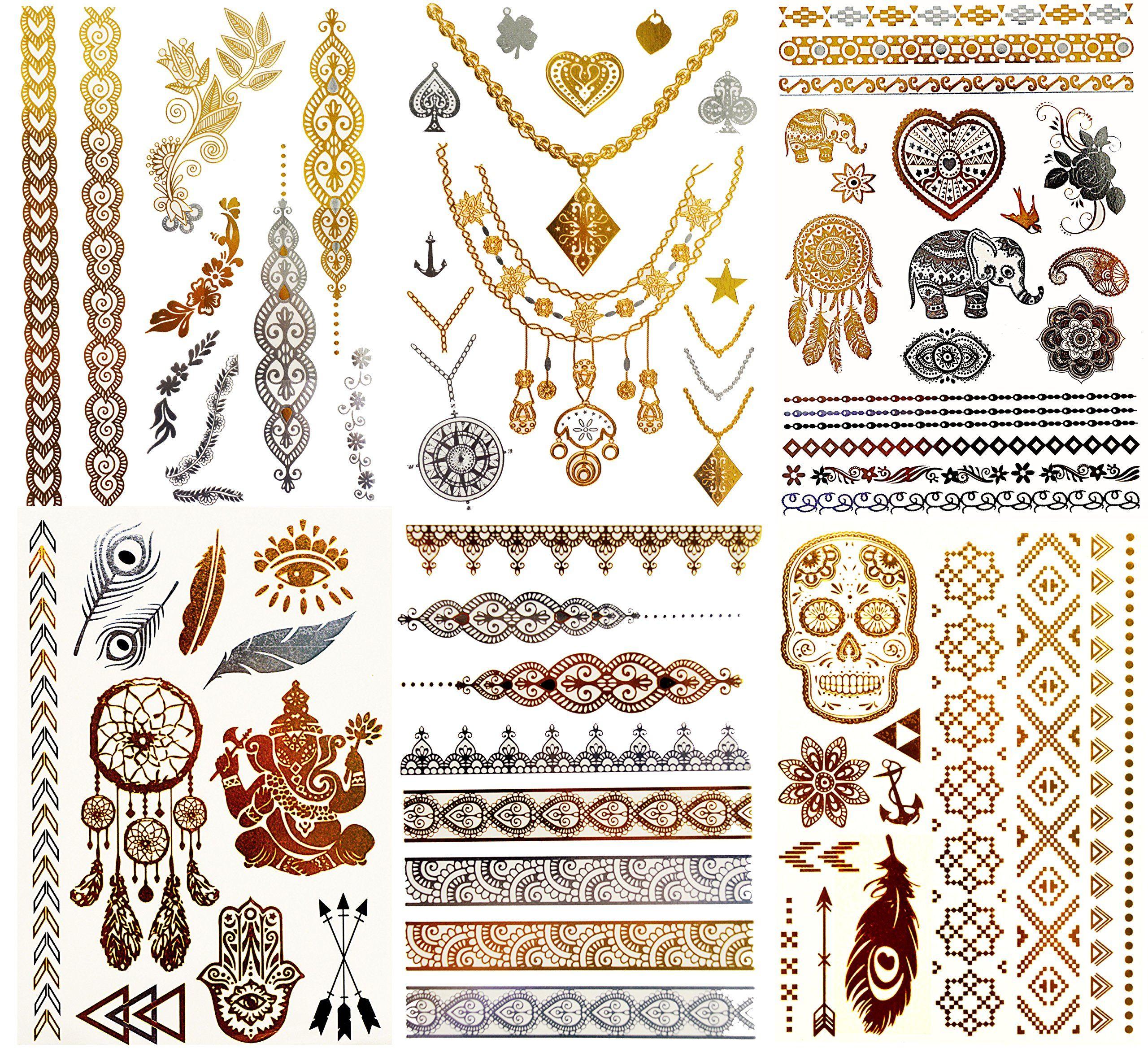 Dk Premium Metallic Temporary Tattoos Waterproof Tattoo Stickers For Women Teens Girls Temporary Fak Shimmer Jewelry Metallic Tattoo Temporary Jewelry Tattoo