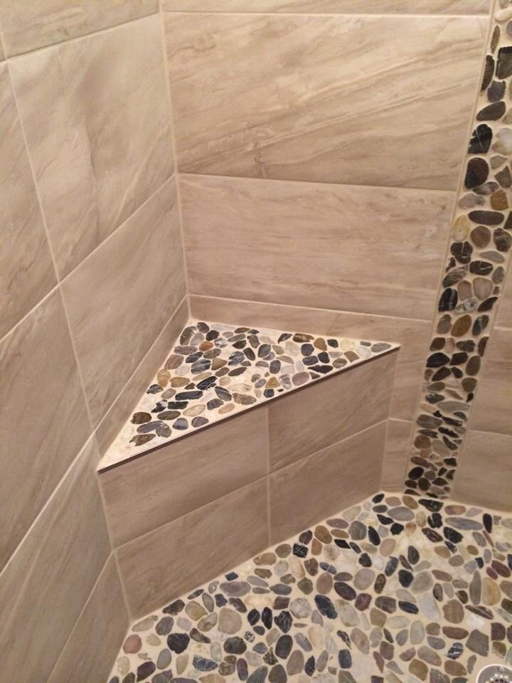 River Stone And Ceramic Tile Shower Stall With Bench Interior