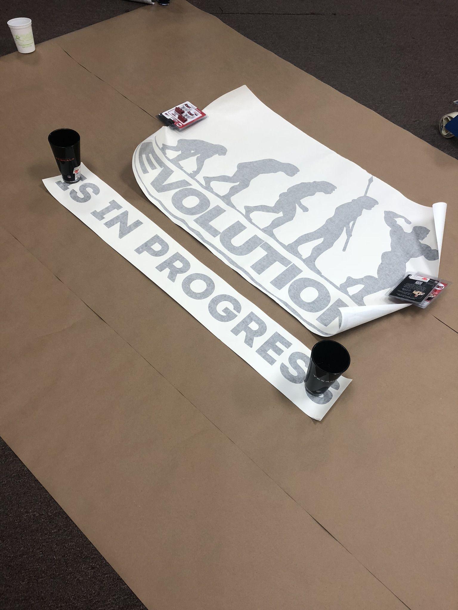 Preparing The Vinyl Sign For Our Window Vinyl Signs Vinyl Skateboard
