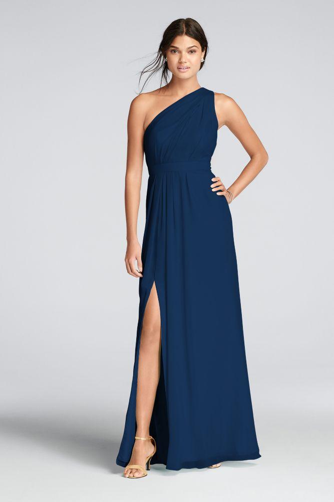 0bf88e02ca988 Extra Length One Shoulder Chiffon Dress Style 4XLF18055, Black, 10 ...