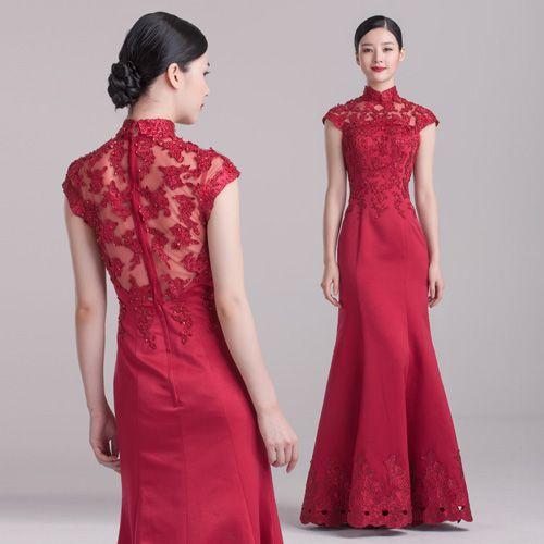 Wine Red Mermaid Floor Length Qipao Cheongsam Wedding Dress