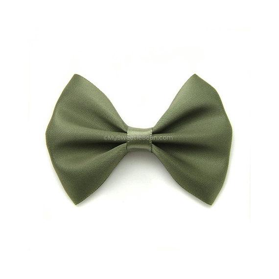 ee3e4ee3e2a4 Willow Green Satin Hair Bow, 3 Inch Bow, Classic Hair Bow, Olive Green,  Army Green Hair Bow No Slip