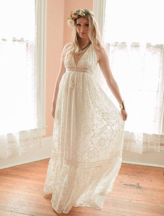 Boho Wedding Dress, Velvet Burnout Dress, Halter Wedding Dress ...