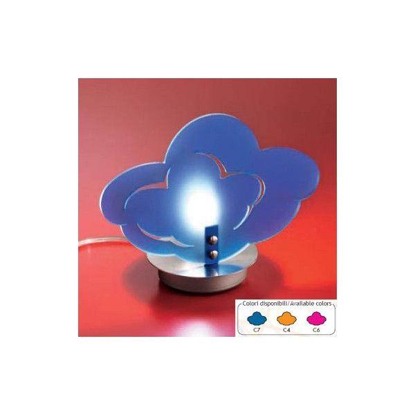 LAMPADA DA TAVOLO ALBA  CODICE: 842    Lampada da tavolo a luce diffusa.  Diffusore in metacrilato in vari colori con struttura in metallo verniciato nichel.  Diffusori disponibili nei colori:  - blu (C7)  - arancione (C4)  - fucsia (C6)    La lampada viene fornita sprovvista di lampadina  Il colore va specificato al momento dell'acquisto.    Dimensioni: 25X18h cm.  Lampadina consigliata: 1X40 Watt attacco G9  Tempi di consegna: 4 giorni circa