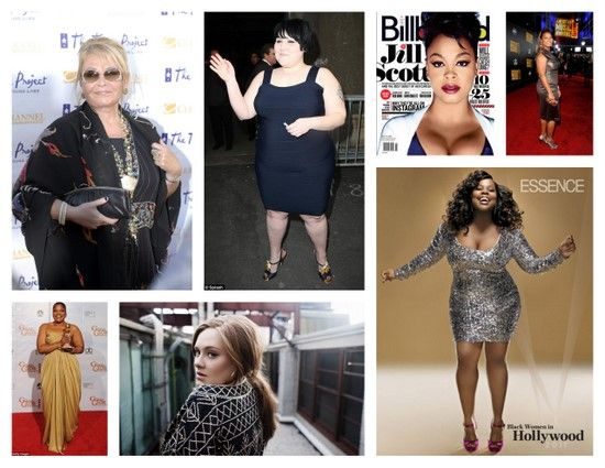 Fat/Plus Size/Curvy Celebrities    1-Adele  2-Queen Latifah  3-Beth Ditto  4-Mo'Nique  5-Amber Riley  6-Roseanne  7-Jill Scott