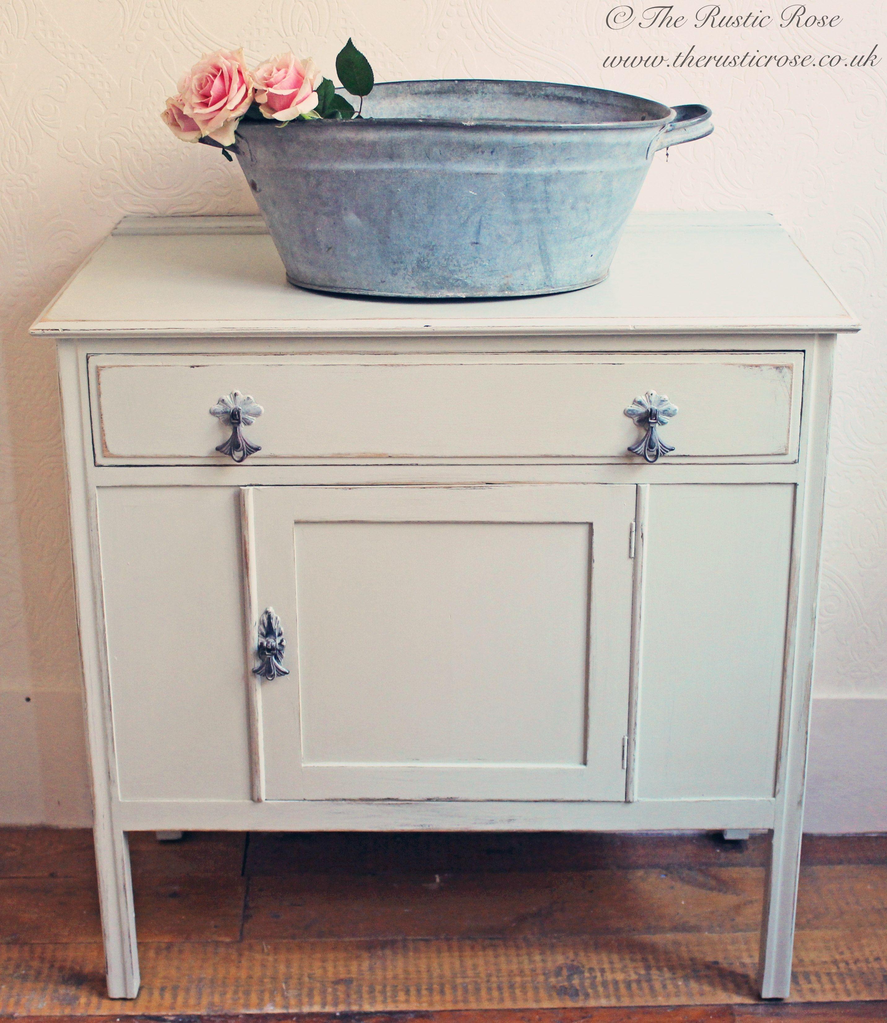 Sweet vintage cupboard painted in Farrow u0026