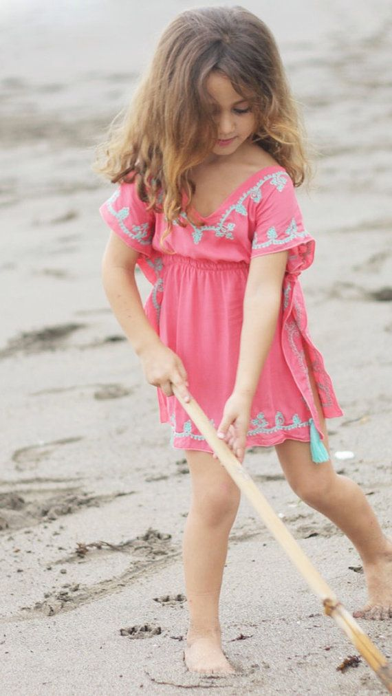 76b2c61895 Kids Handmade Embroidered Watermelon Beach Kaftan/Poncho/Summer Dress/Beachwear.  Gorgeous Embroidery & Tassel Details