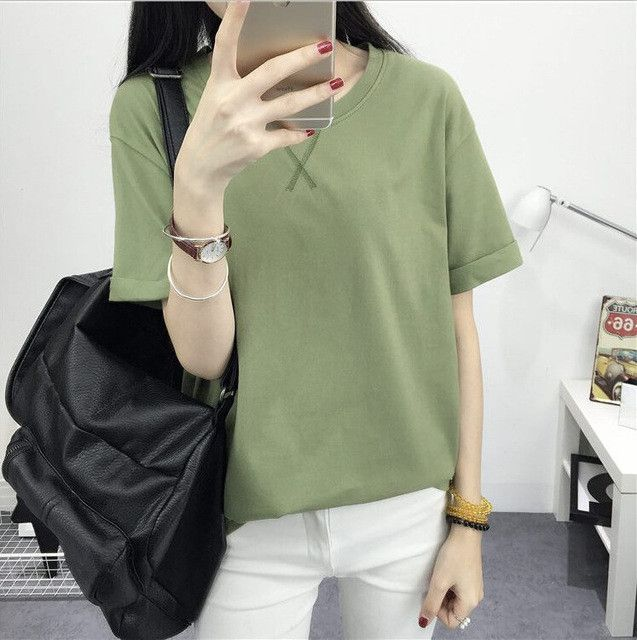 2016 Korea style of the new female -shirt summer render unlined upper garment big yards of pure color round collar coat