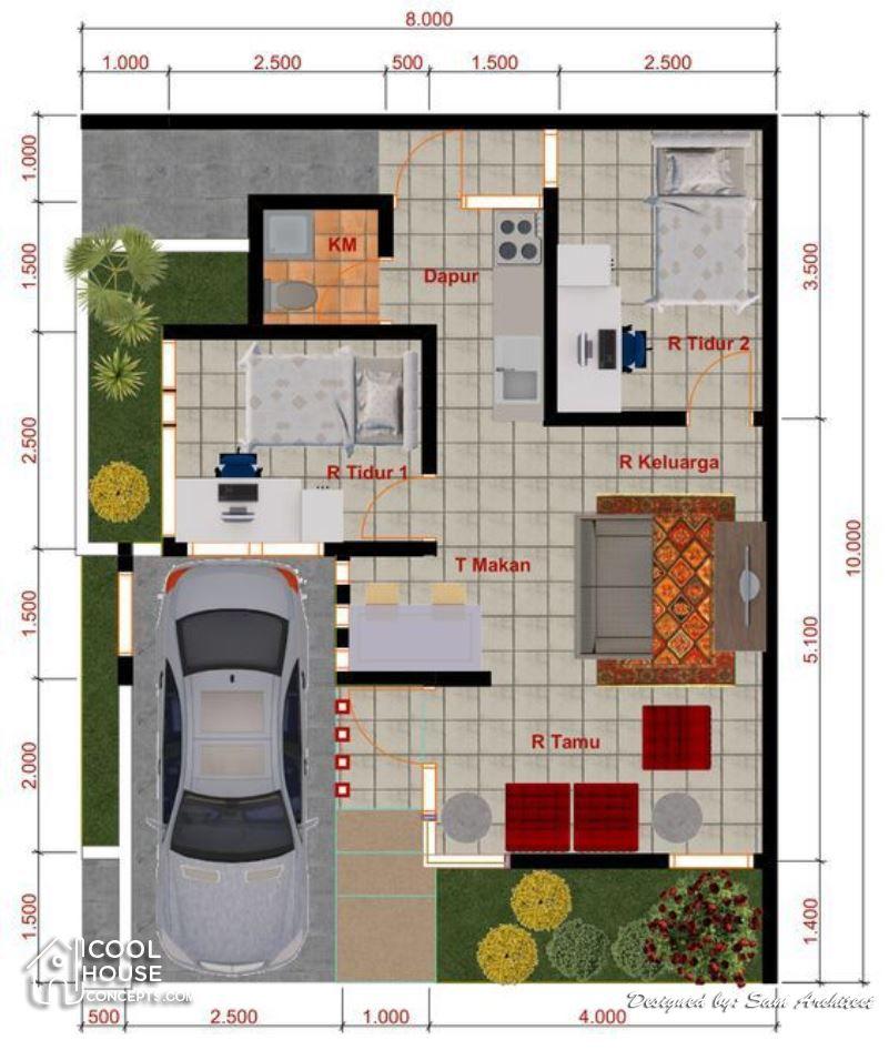 Minimalist House Design With 2 Bedrooms Cool House Concepts Desain Rumah Kecil Desain Rumah Bungalow Tata Letak Rumah
