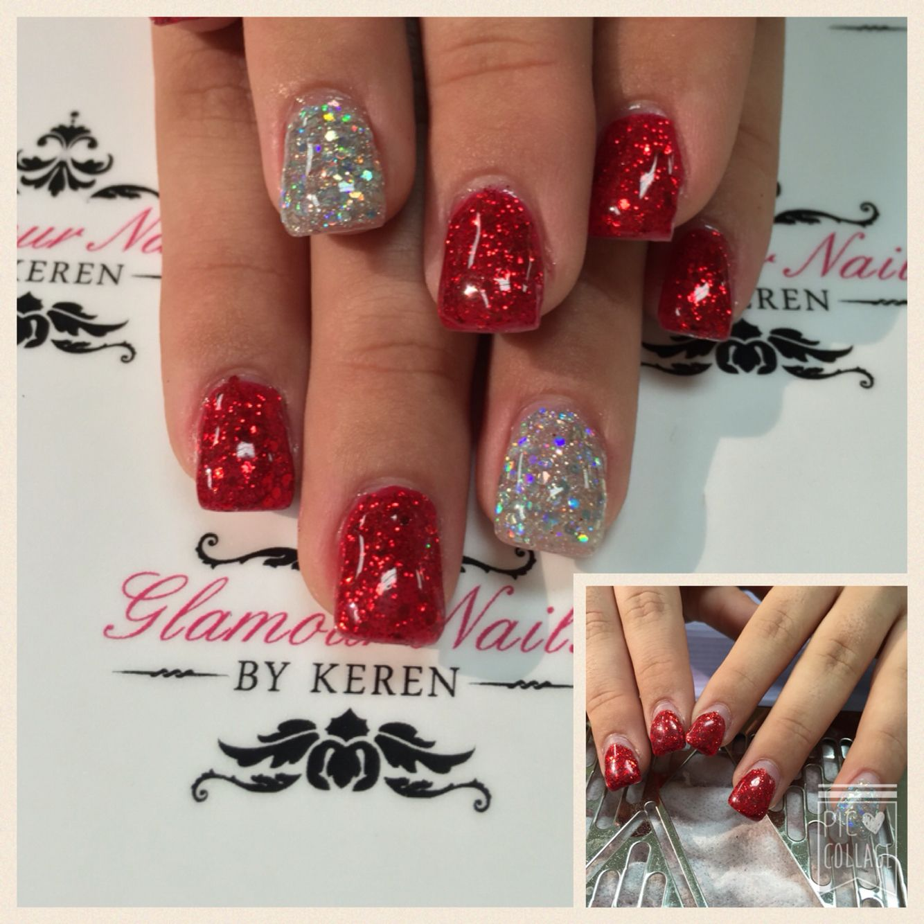red/silver glitter gel nails   nail addict   pinterest   glitter