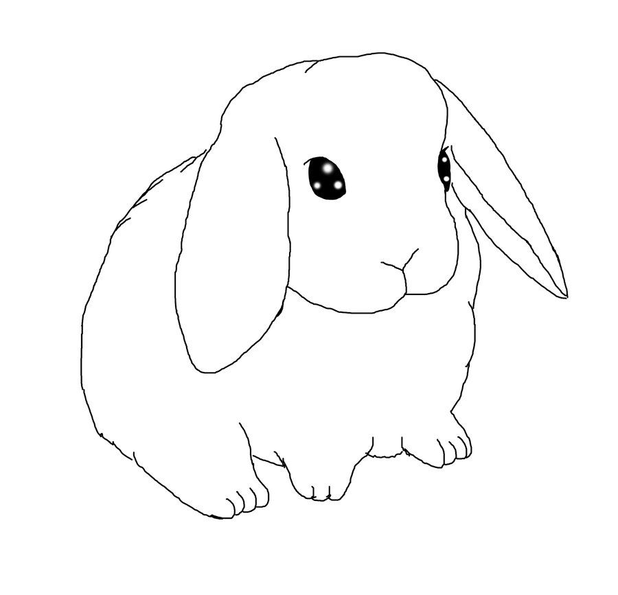 Lopeared bunny Lineart by Thistleflight