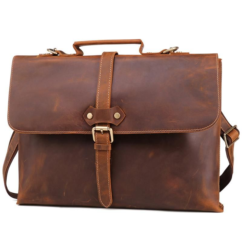 Men Leather Briefcase Business Laptop Bag Attache Messenger Portfolio Bags Brown