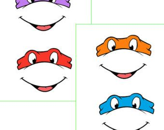 INSTANT Download - Ninja Turtles EYES -for Balloon, Stickers, Lollipop,  Favor bags, Cups
