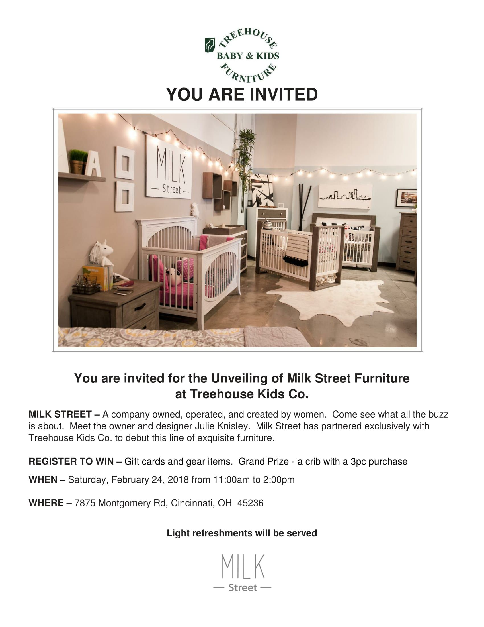 Milk Street Baby Furniture Launch Via Treehouse Kids Cincinnati