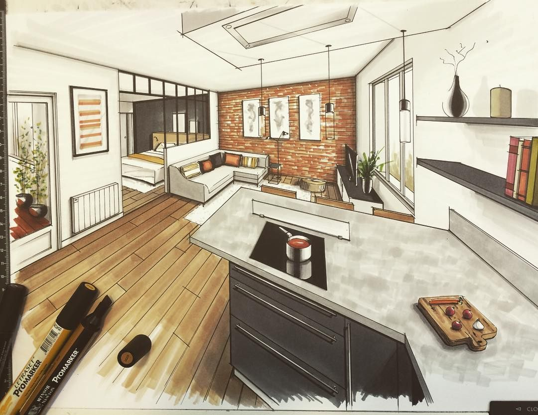 Pin de mastroart en architecture dessin architecture dessin y dessin architecte - Dessin cuisine 3d ...