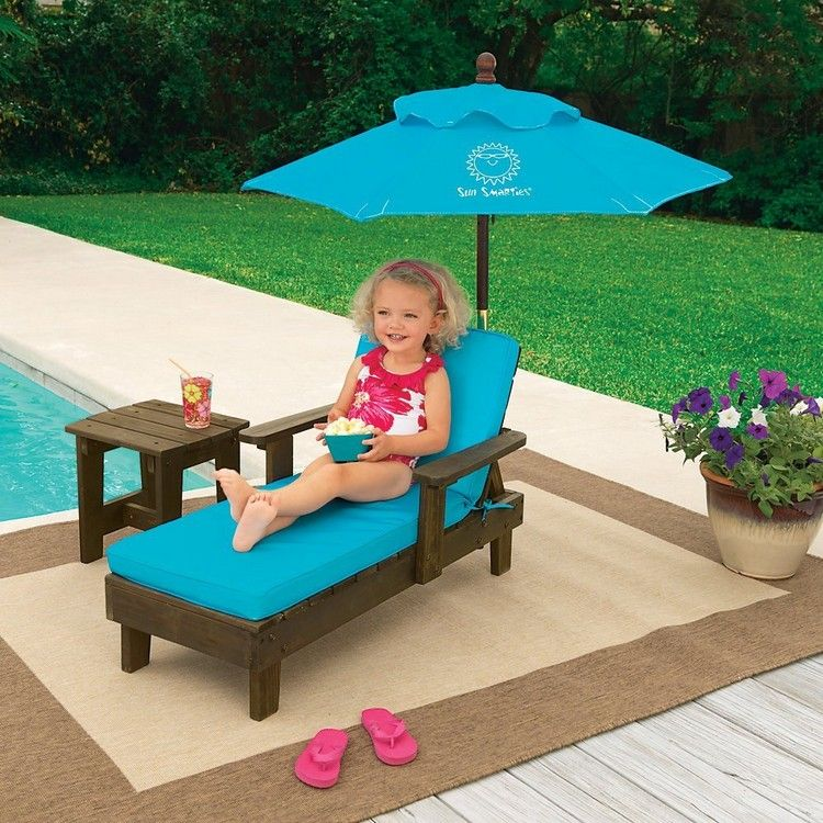 Kids Pallet Lounge Chair With Umbrella Kids Outdoor Furniture