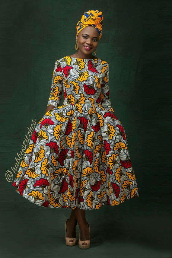 606a2d43bdb Dupe African skater dress   African dress   African print dress ...