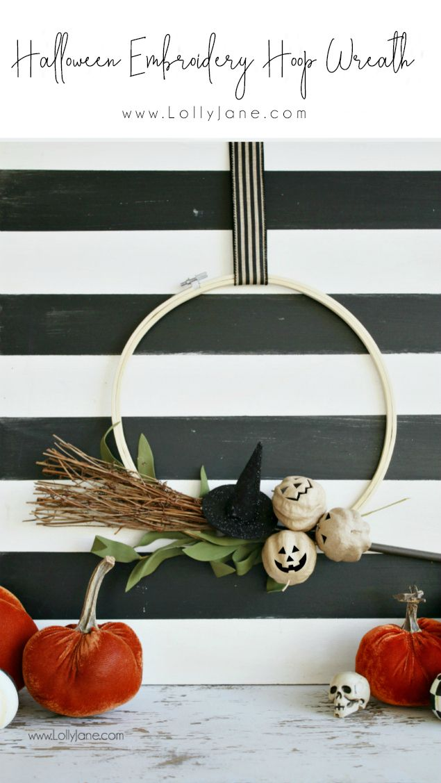 Halloween Embroidery Hoop Wreath To Make Pinterest Simple - how to make simple halloween decorations