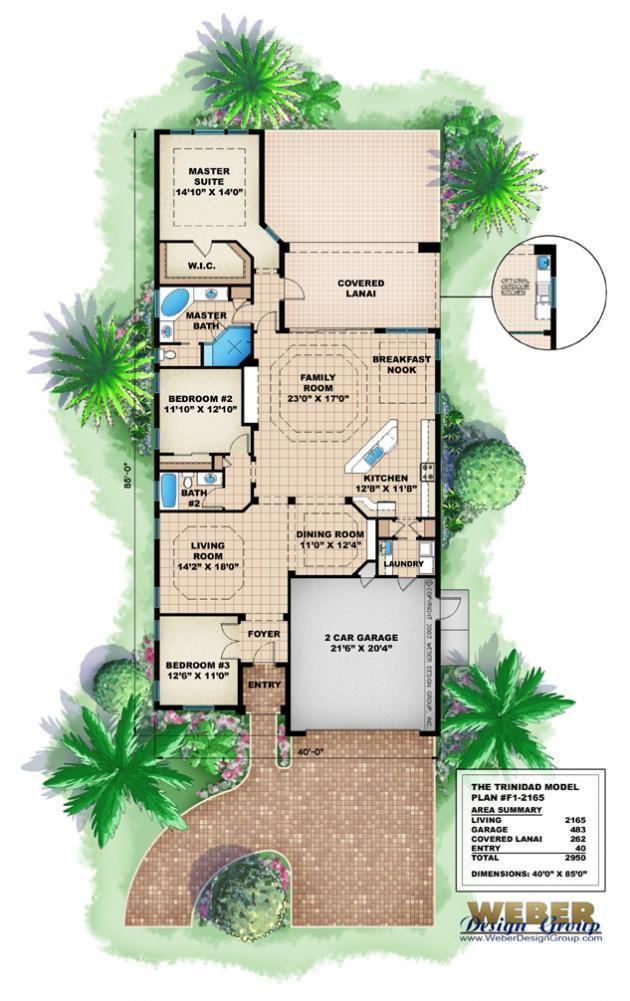 Trinidad House Plan Narrow Lot House Plans Beach House Plans Mediterranean House Plans